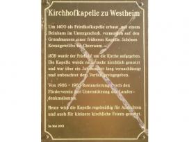 Tafel in der Kirchhofkapelle Westheim